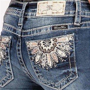 Calça Jeans Miss Me Feminina Bordado Pena