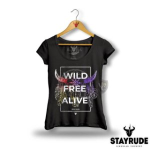 CAMISETA STAY RUDE FEMININA PRETO 2020