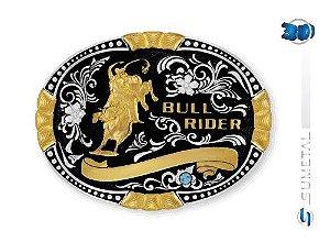 Fivela Sumetal Bull Rider Strass Azul 9924Fj