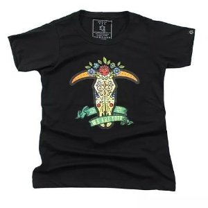 Camiseta Tuff Fem. Preta Bull Skull Flower 1280