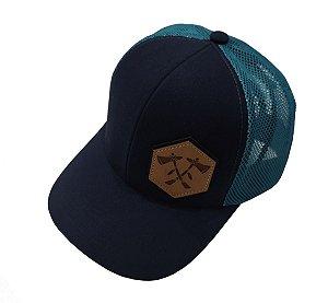 Boné Tomahawk Azul Marinho Aplique de Couro TMK0016