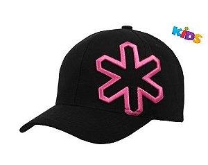 Boné Tuff Infantil Veneza Kids Preto Logo Rosa CAP2246