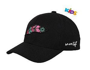 Boné Tuff Pink Feather Kids Preto Pena Rosa CAP2248