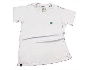 Camiseta Tuff Fem Branca Logo Turquesa