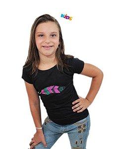 Camiseta Tuff Infantil Preta Silk Pena Pink
