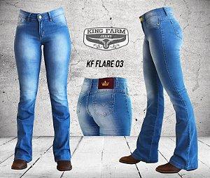 Calça Jeans King Farm Feminina Flare Delave