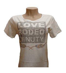 Camiseta Minuty Feminina Love Rodeo Palha MF818