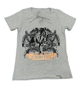 Camiseta Minuty Feminina Style Country Cinza MF757CC