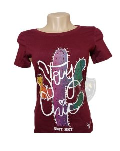 Camiseta Smith Brothers Feminina Bordo SBTF2112