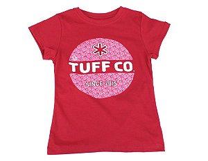 Camiseta Tuff Infantil Vermelha Logo Rosa TS3638