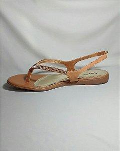 Sandália rasteira Pêssego com Strass