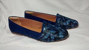 Sapatilha tecido lurex estampado azul e suede azul azurra