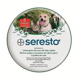 Coleira Seresto para Cães e Gatos até 8 Kg + 1 BOLSA PET FACE GRÁTIS