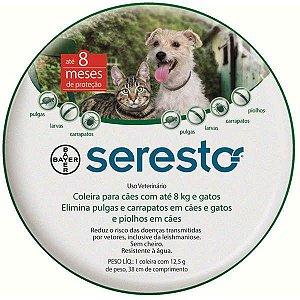 Coleira Seresto para Cães e Gatos até 8 Kg + BOLSA PET FACE GRÁTIS
