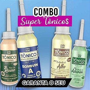 Combo Super Tônicos - Tônico Alecrim + Tônico Alho + Tônico Rícino + Tônico Bombvin A