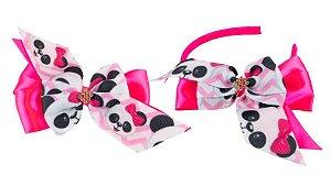 Kit Tiara e Laço Rosa Pink Urso Panda
