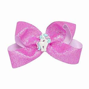 Laço Rosa de Glitter Criamigos