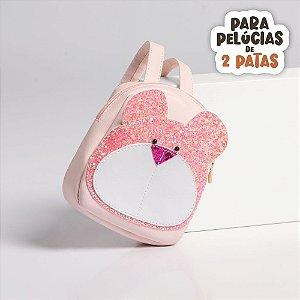 Mochila Rosa Bebe com Urso Glitter Criamigos