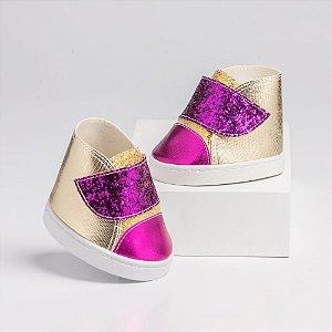 Tênis de Velcro Dourado e Pink com Glitter Criamigos