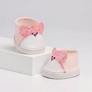 Tênis Rosa de Urso com Glitter Criamigos