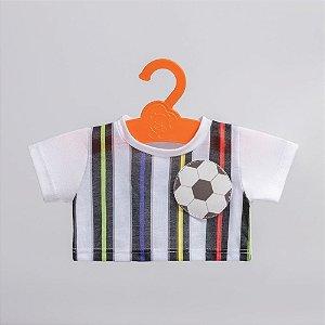 T-Shirt Branca Listrada com Bola Criamigos