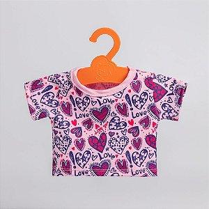 T-Shirt Rosa de Coração Criamigos