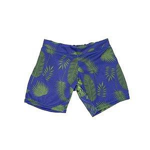 Bermuda Azul Malha Folhas
