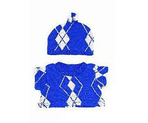 Blusão Xadrez com Gorro Azul