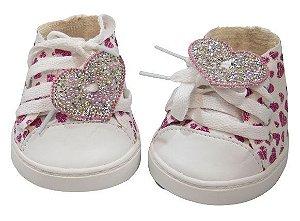 Tênis Cadarço Glitter Coração Rosa