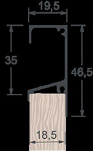 Perfil Puxador Form 47T Anodizado sem Jato com 6,0m
