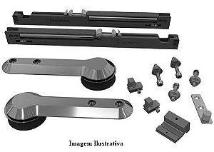 Sistema de Porta de Correr Aparente EVO para MDF Titânio 15 a 40Kg c/ 3m