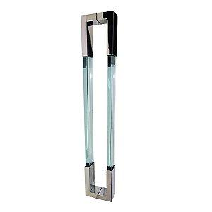 Puxador Duplo para Porta de Vidro ou Madeira DF980 Inox Transparente 600mm