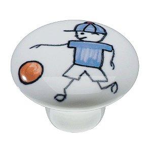 Puxador Ponto IL7054-Menino Futebol Cromado 37mm