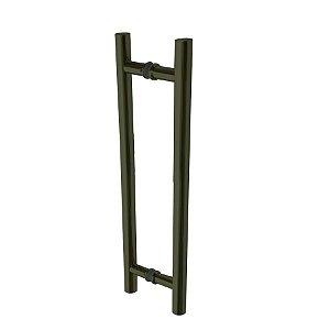 Puxador para Dupla Fixação de Porta de Vidro ou Madeira DF907 Inox 202 Fume 800mm