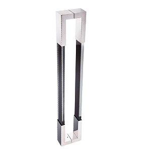 Puxador Duplo para Porta de Vidro ou Madeira DF980 Inox Preto 800mm