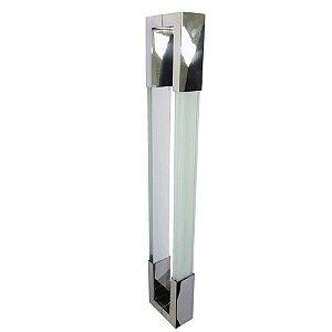 Puxador Duplo para Porta de Vidro ou Madeira DF980 Inox Branco 800mm
