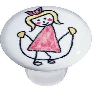 Puxador Ponto IL7057 Cerâmica Menina Corda Rosa 37mm