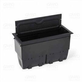 Caixa Openbox Alumínio 4 Blocos Preto 2 Elétricos 1 Bloco Cego 1 Bloco para RJ45 Key