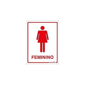 Placa Sinalizadora Banheiro Feminino Poliestireno 15 x 20cm Autoadesiva