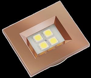 Luminaria Retangular 35mm 40X46 4 Leds - Luz Quente - COBRE