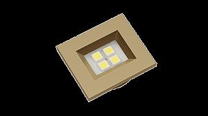 Luminaria Retangular 35mm 40X46 4 Leds - Luz Fria - ORO VECCHIO