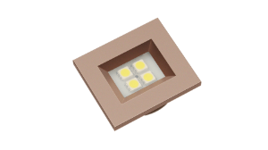 Luminaria Retangular 35mm 40X46 4 Leds - Luz Fria - RED GOLD