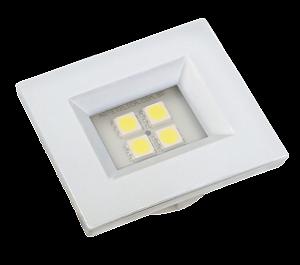 Luminaria Retangular 35mm 40X46 4 Leds - Luz Quente - BRANCO