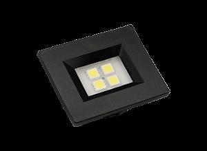 Luminaria Retangular 35mm 40X46 4 Leds - Luz Fria - PRETO