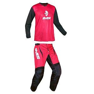 Conjunto Off-Road IMS MX vermelho - Kit Calça e Camisa
