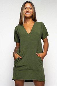Vestido Curto Verde Militar Moletinho com Bolso Frontal