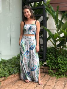 Calça Pantalona Floral Poliamida Biodegradável- Tecido Sustentável