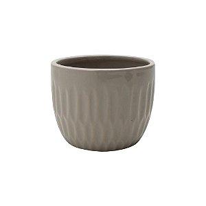 Vaso de Cerâmica Embossed Groove Cinza