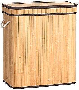 Cesto de Roupa Duplo de Bambu com Tampa 32x52x60cm Mimo Style
