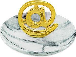 Prato de Cerâmica Porta Joias Arroba @ Dourado